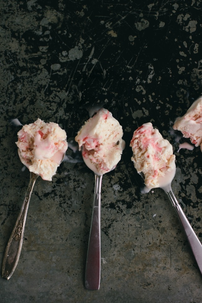 candy cane ice cream on spoons
