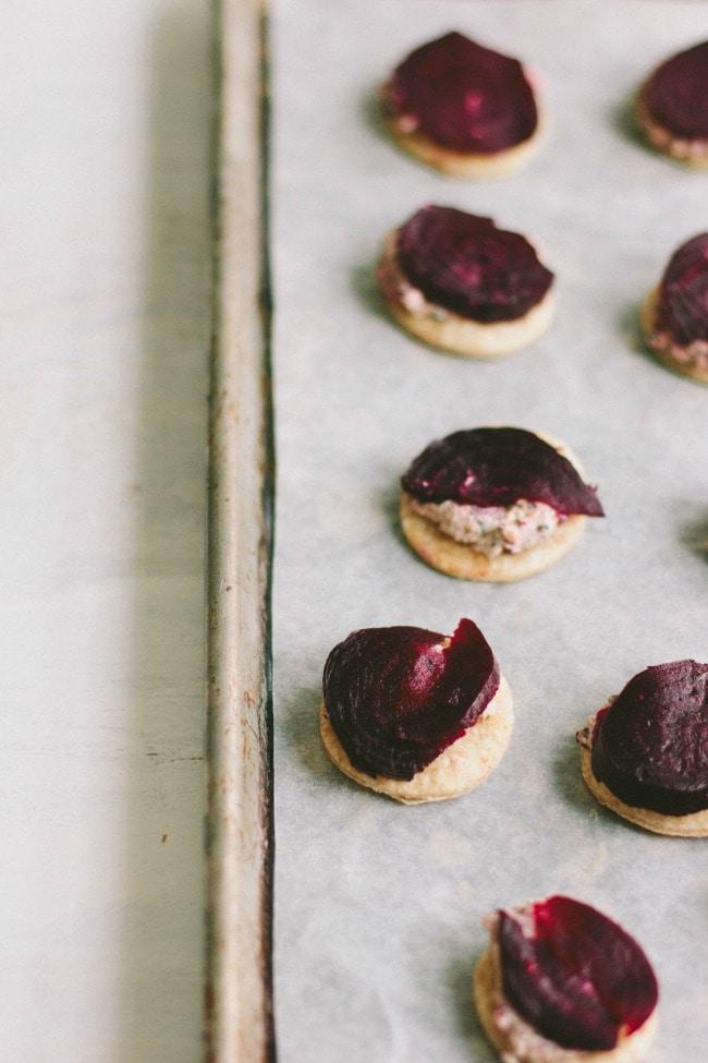 beet tartlets with goat cheese and beet greens pesto | the vanilla bean blog