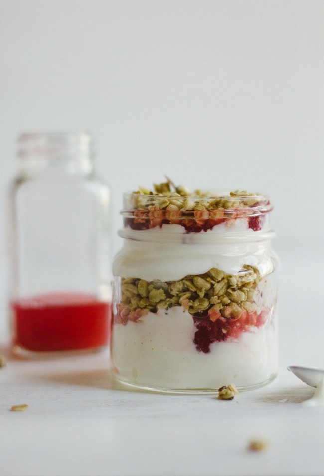 raspberry-rhubarb yogurt bowls | the vanilla bean blog