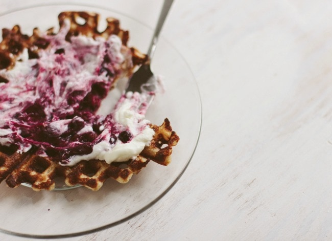 waffles with rhubarb-blueberry-cardamom compote | the vanilla bean blog