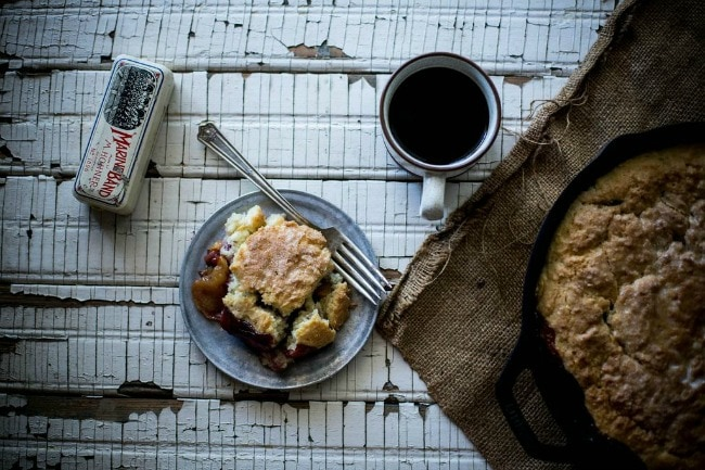 Blackberry + Peach Buttermilk Biscuit Cobbler | Local Milk