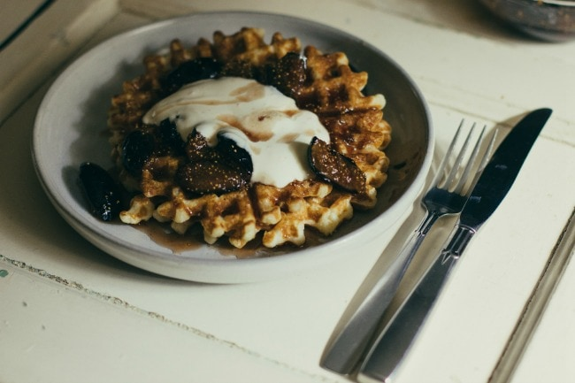 waffles with fig compote and orange-honey crème fraîche | the vanilla bean blog