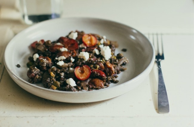 warm lentil salad with cherries, pistachios, and goat cheese | the vanilla bean blog