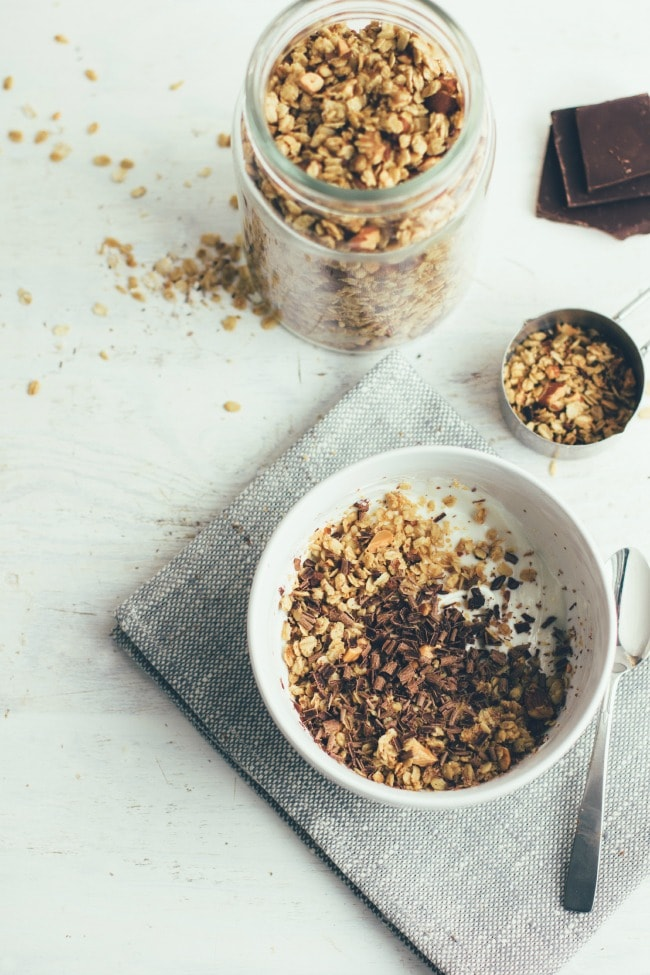 peanut butter granola with cacao nibs and bittersweet chocolate | the vanilla bean blog