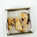 creme fraiche scones with berries in a square pan