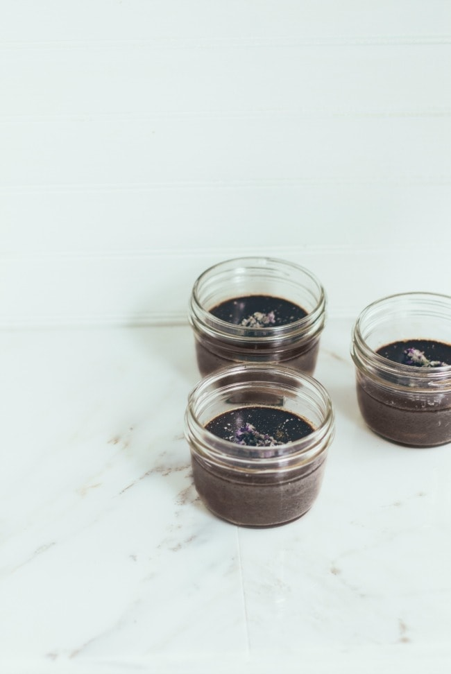 chocolate pots de crème with lavender and sea salt | the vanilla bean blog