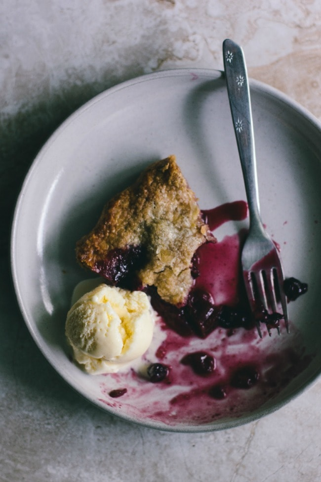 Rhubarb Blueberry Apple Pie with Ice Cream | The Vanilla Bean Blog | Sarah Kieffer