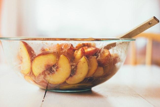Peach Pie Filling in A Glass Bowl | Sarah Kieffer | The Vanilla Bean Blog