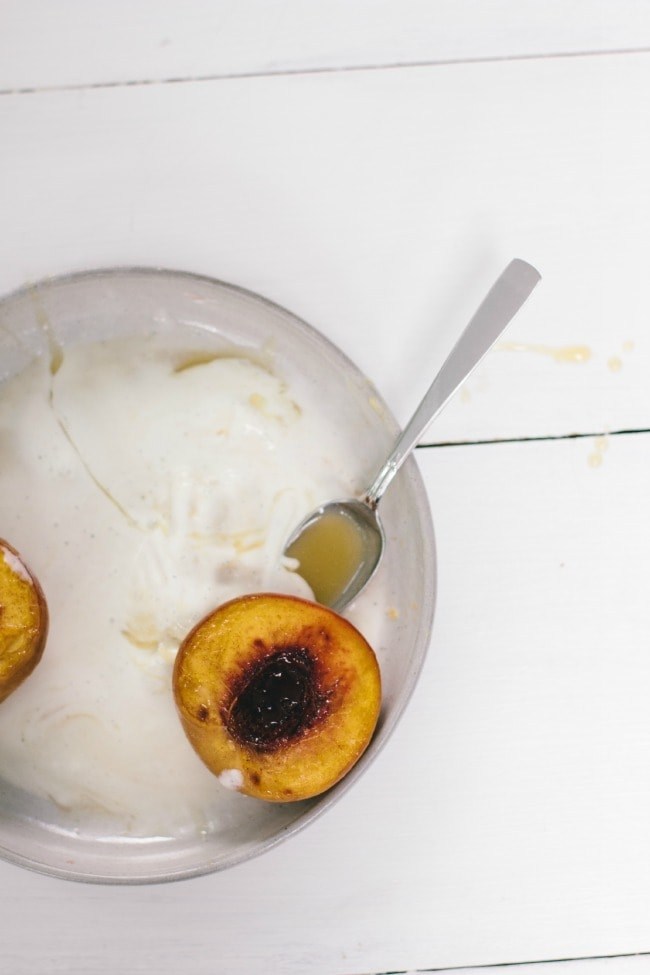 roasted peaches with crème fraîche caramel sauce | the vanilla bean blog