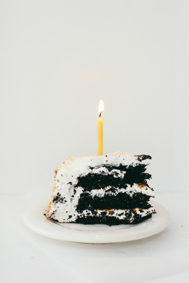 S'more Cake Slice with Candle | The Vanilla Bean Blog | Sarah Kieffer