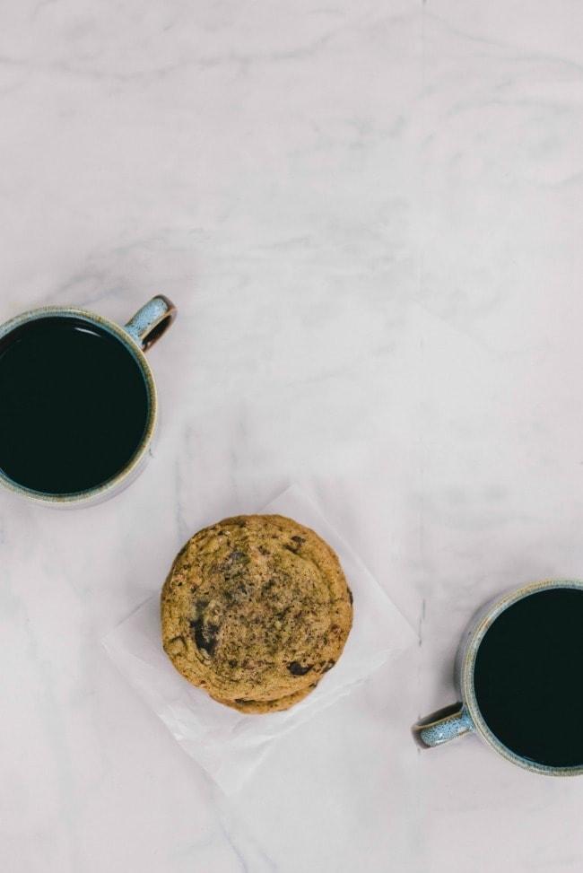 Wheat Free Chocolate Chip Cookie and Two Mugs of Coffee | The Vanilla Bean Blog | Sarah Kieffer