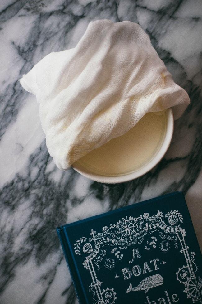 Crème Fraîche Covered With Cheesecloth | Sarah Kieffer | The Vanilla Bean Blog