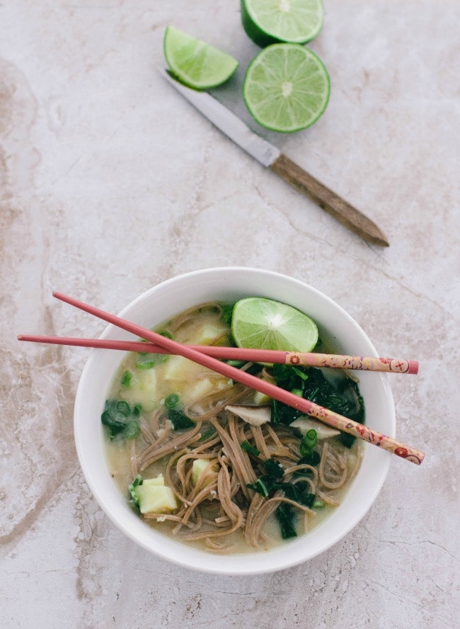 Bok choy and shiitake mushrooms in miso-lime broth | the vanilla bean blog