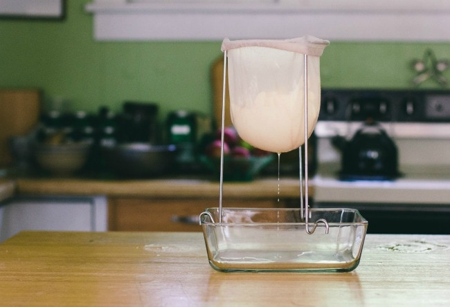 Straining Cheese In Cloth | Sarah Kieffer | The Vanilla Bean Blog