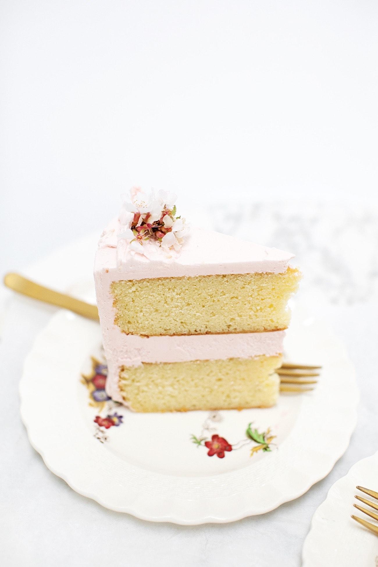 Yellow Cake with Strawberry Buttercream