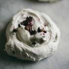 cacoa nib pavlovas with berry jam