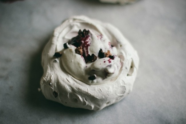 Cocoa Nib Pavlovas with Jam | The Vanilla Bean Blog