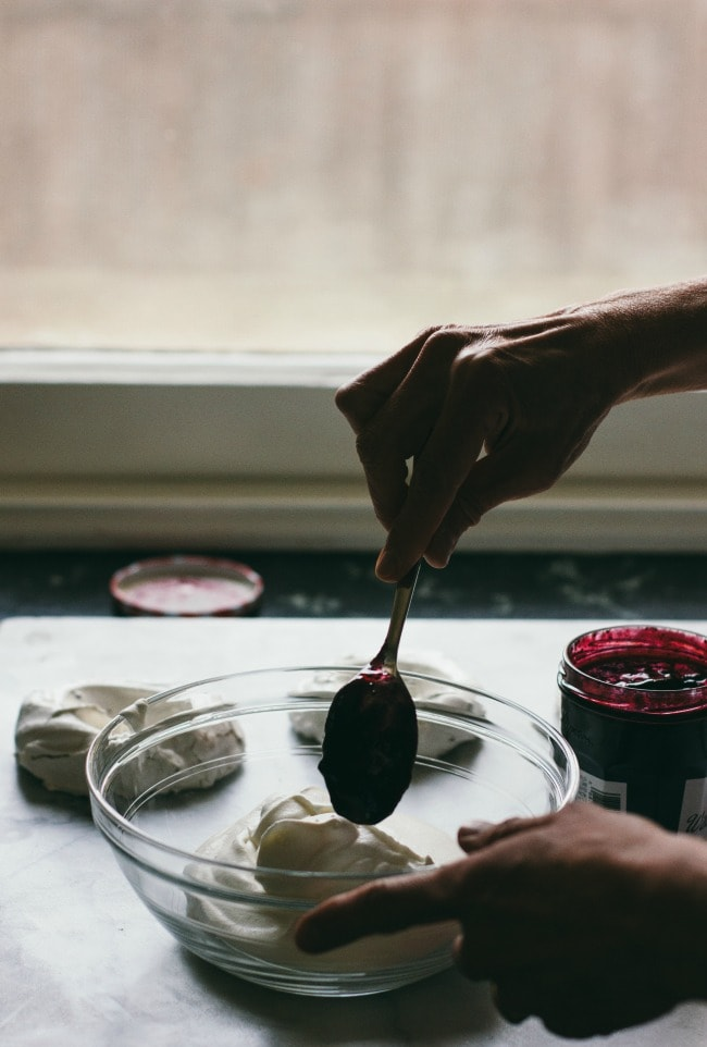 Cocoa Nib Pavlovas with Jam