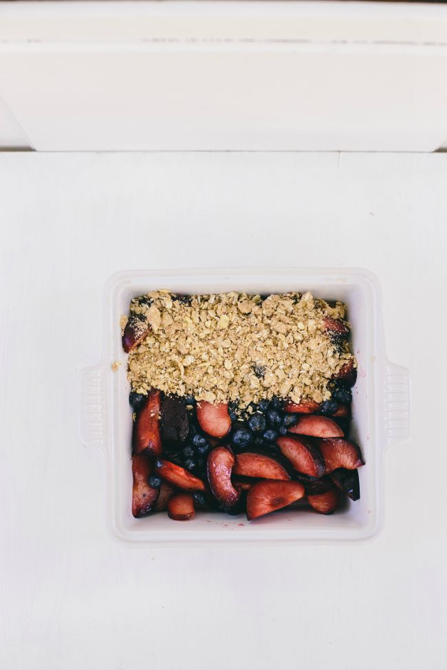 blueberry, almond, and plum crumble | the vanilla bean blog