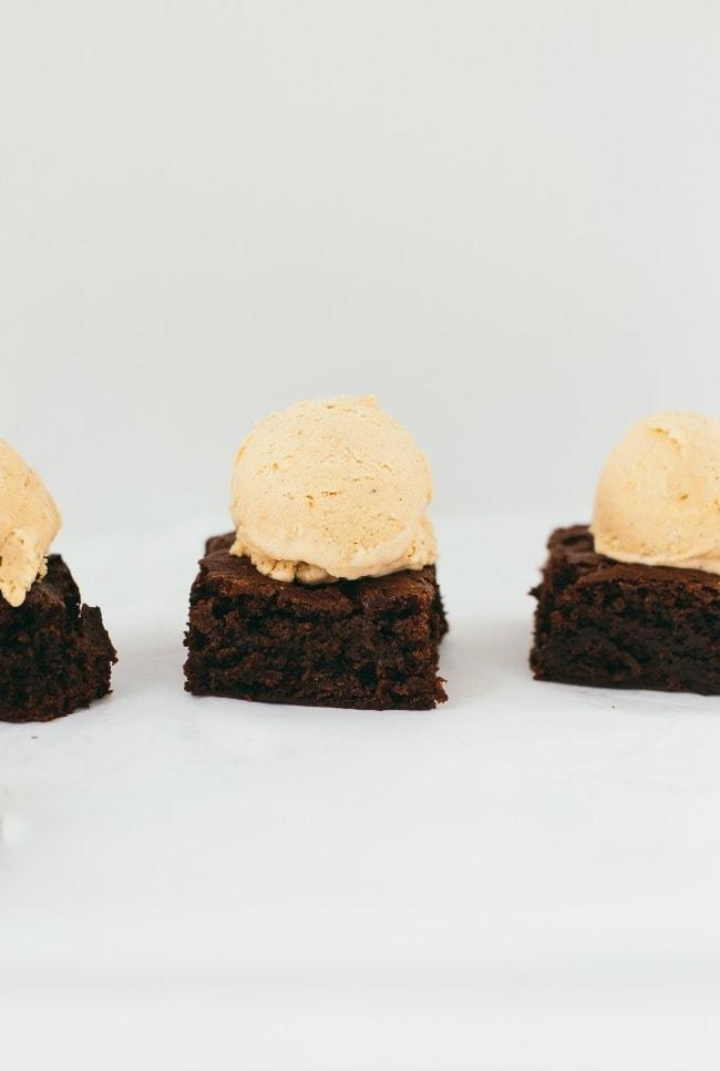 Nutella Brownies With Pumpkin Ice Cream | The Vanilla Bean Blog | Sarah Kieffer