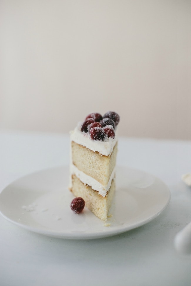 ginger cake with crème fraîche buttercream and sugared cranberries | the vanilla bean blog