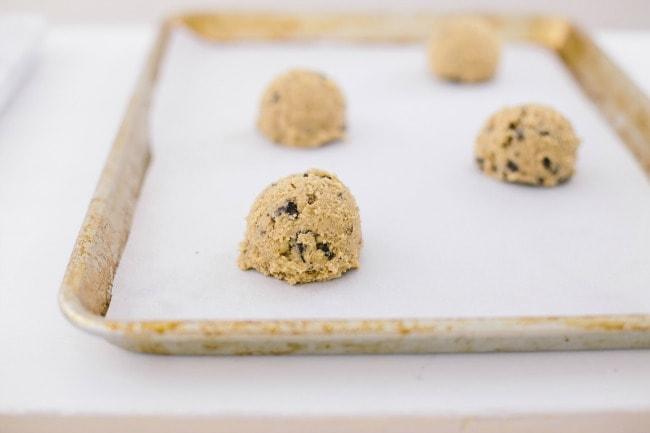 Chocolate Chip Cookie Dough on Baking Sheet | The Vanilla Bean Blog | Sarah Kieffer