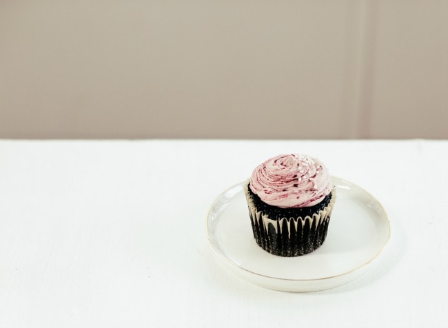 Chocolate Cupcakes with Blackberry Basil Buttercream
