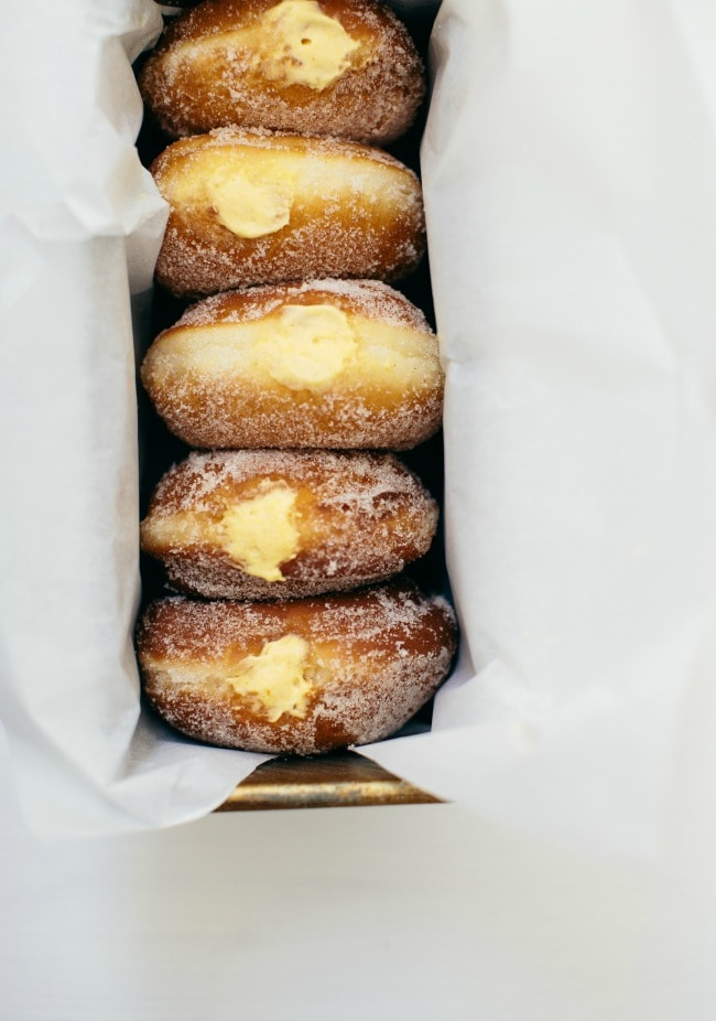 vanilla doughnuts with pumpkin pastry cream