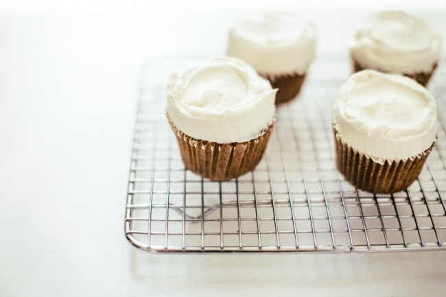 parsnip-cardamom cupcakes with maple cream cheese frosting