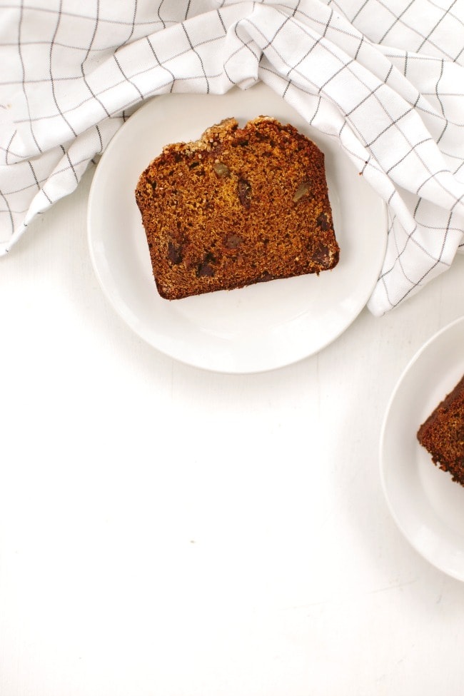 A slice of Pumpkin Bread with Chocolate and Ginger | The Vanilla Bean Blog