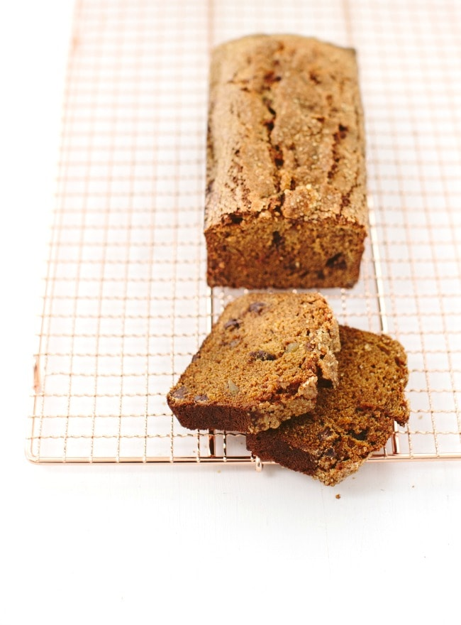 A loaf of Pumpkin Bread with Chocolate and Ginger | The Vanilla Bean Blog