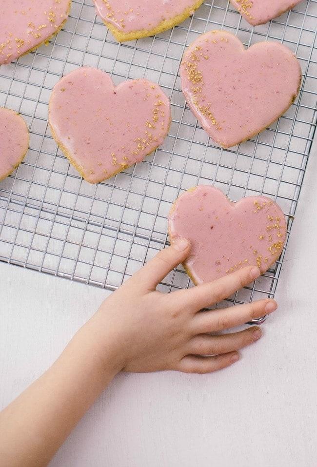 olive oil sugar cookies with blood orange glaze