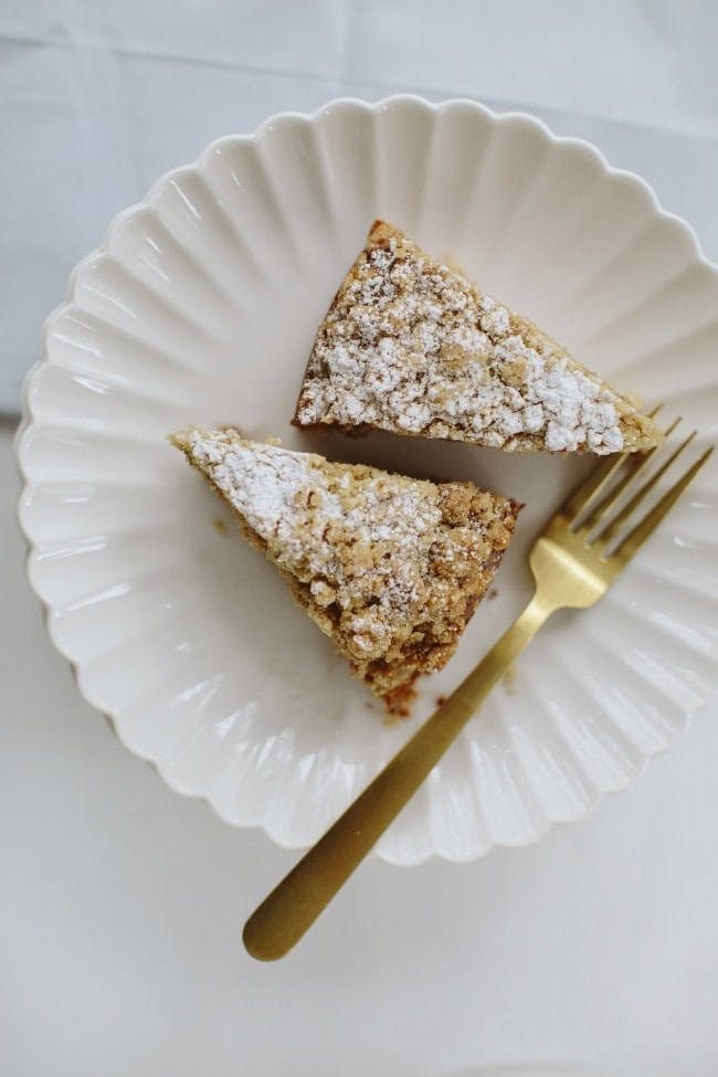 Plated Slices of Ginger Coffee Cake