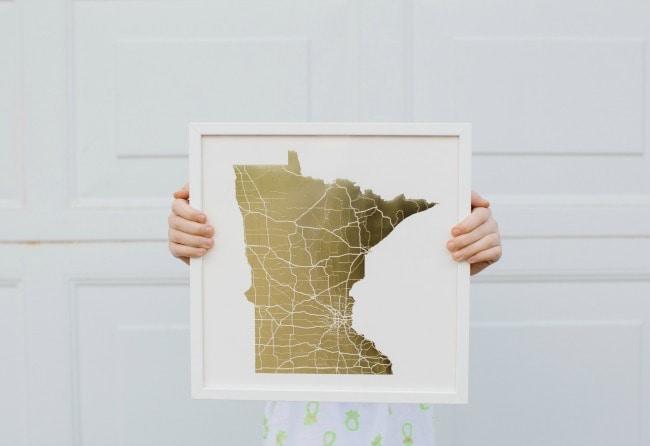 Foil Pressed Minnesota Art Print