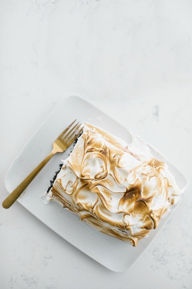 chocolate ice cream cake with torched mint meringue recipe | The Vanilla Bean Blog