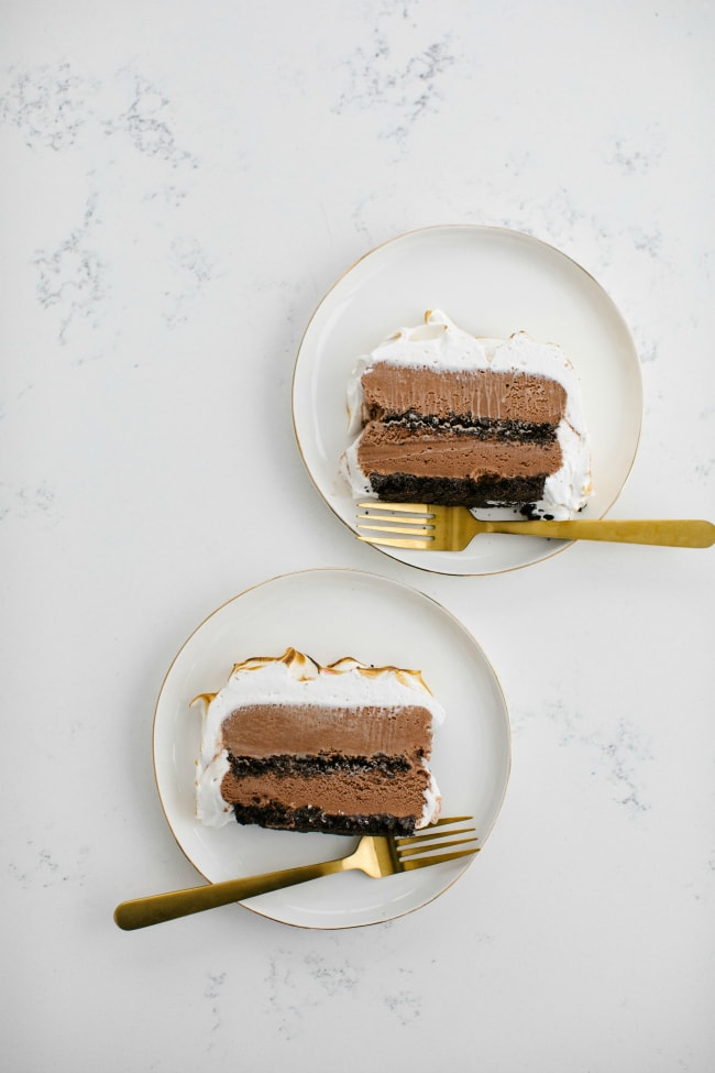 Slices of chocolate ice cream cake with mint meringue | The Vanilla Bean Blog