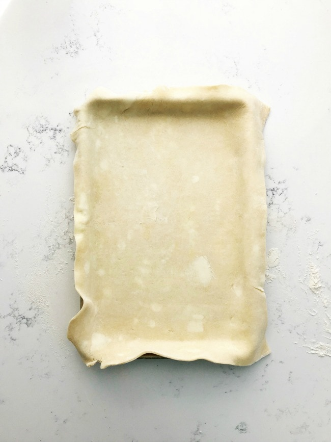 A slab of pie dough in a sheet pan | Sarah Kieffer | The Vanilla Bean Blog