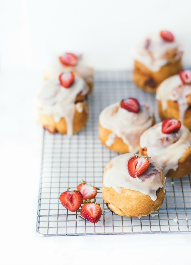 strawberries and cream brioche buns