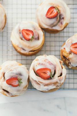 strawberries and cream brioche buns