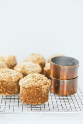 banana poppyseed muffins with hazelnut streusel