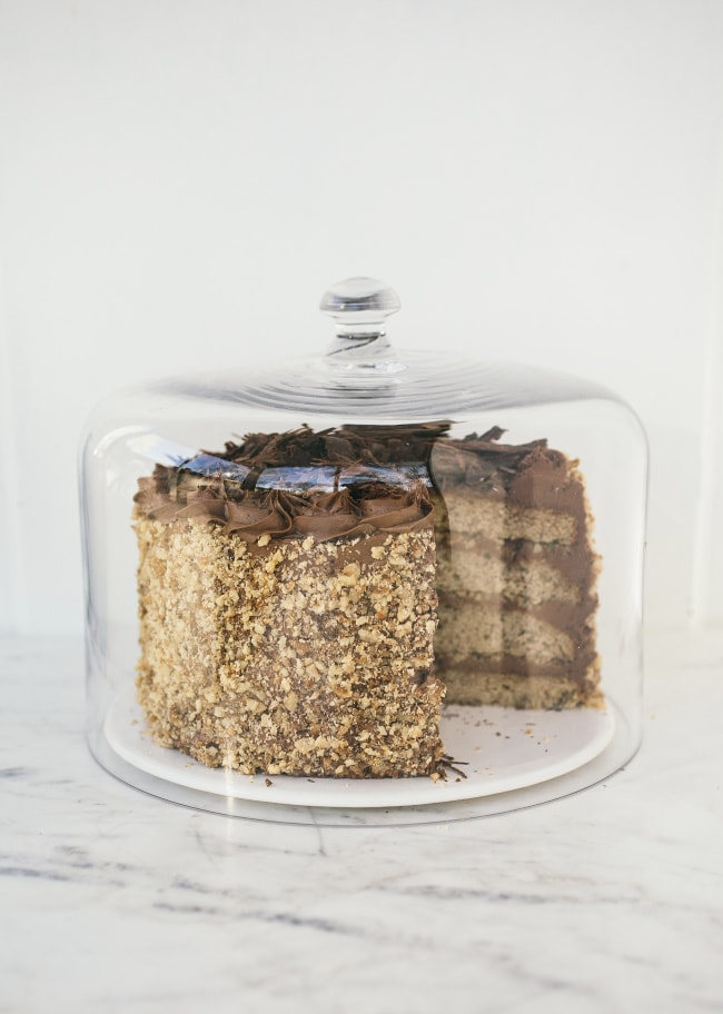 Walnut Cake with Chocolate Buttercream and Candied Walnuts