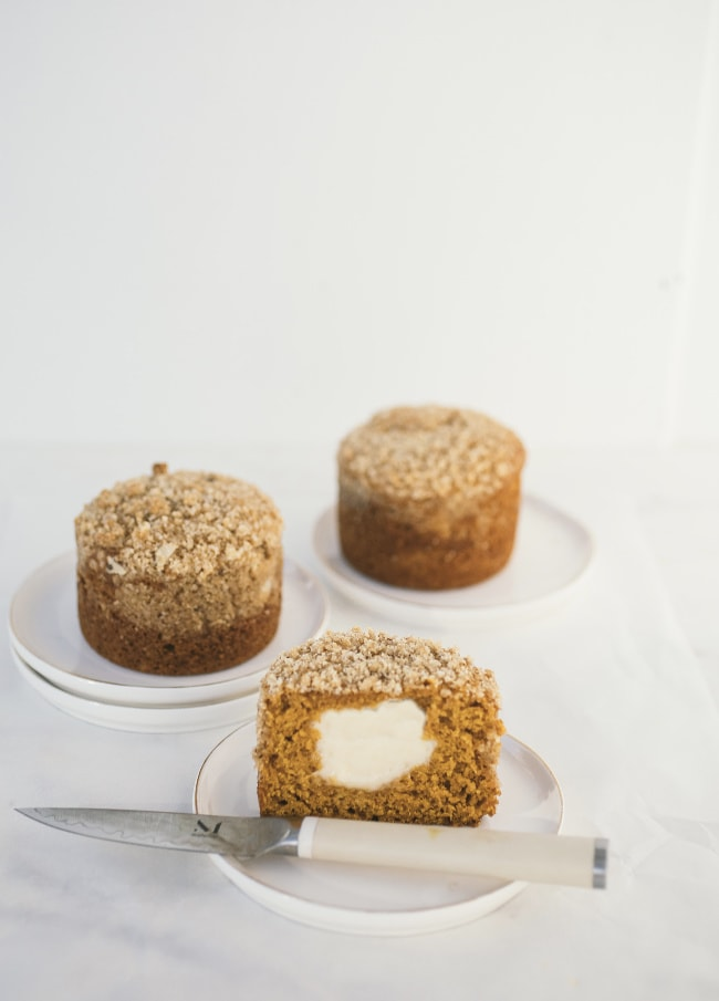 pumpkin and cream cheese muffins with struesel