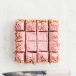 walnut snack cake with raspberry buttercream