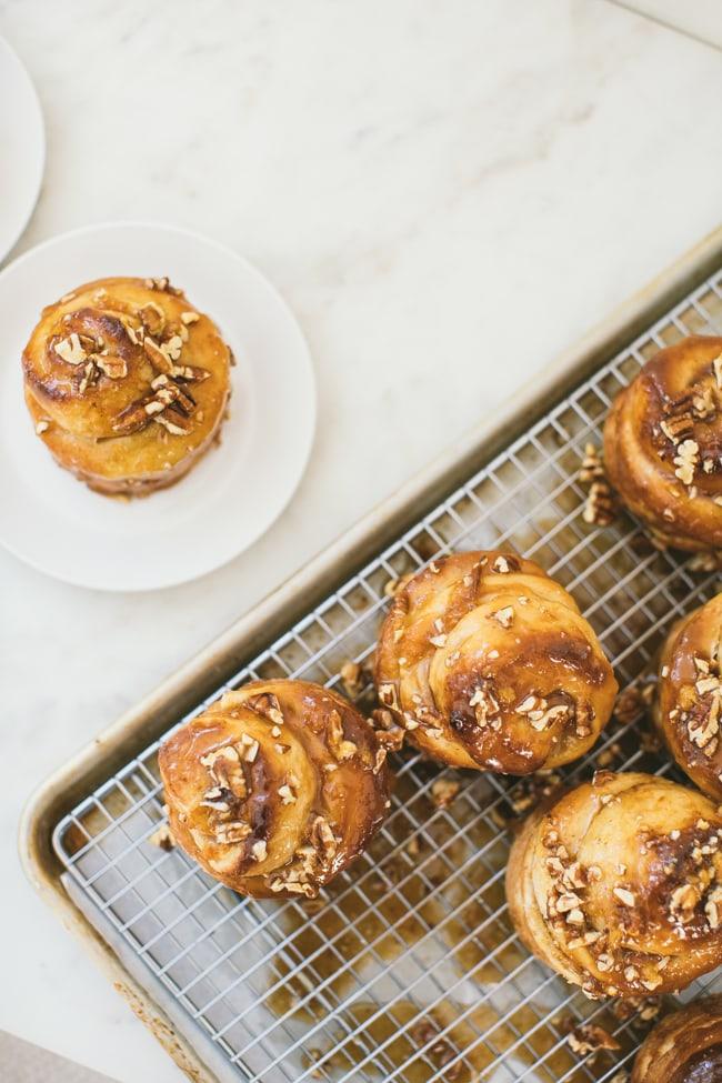 peach caramel rolls