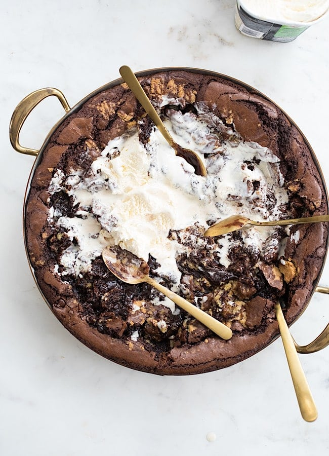 Brownie Butter Chocolate Cookie Brownie Skillet