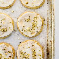 Olive Oil Sugar Cookies with Pistachios and Lemon Glaze