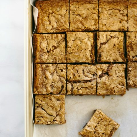 Coffee Blondies cut into squares, in a baking sheet