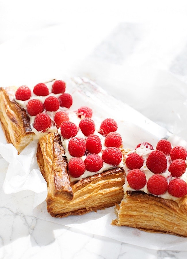 Raspberry Puff Pastry Tart on a marble board