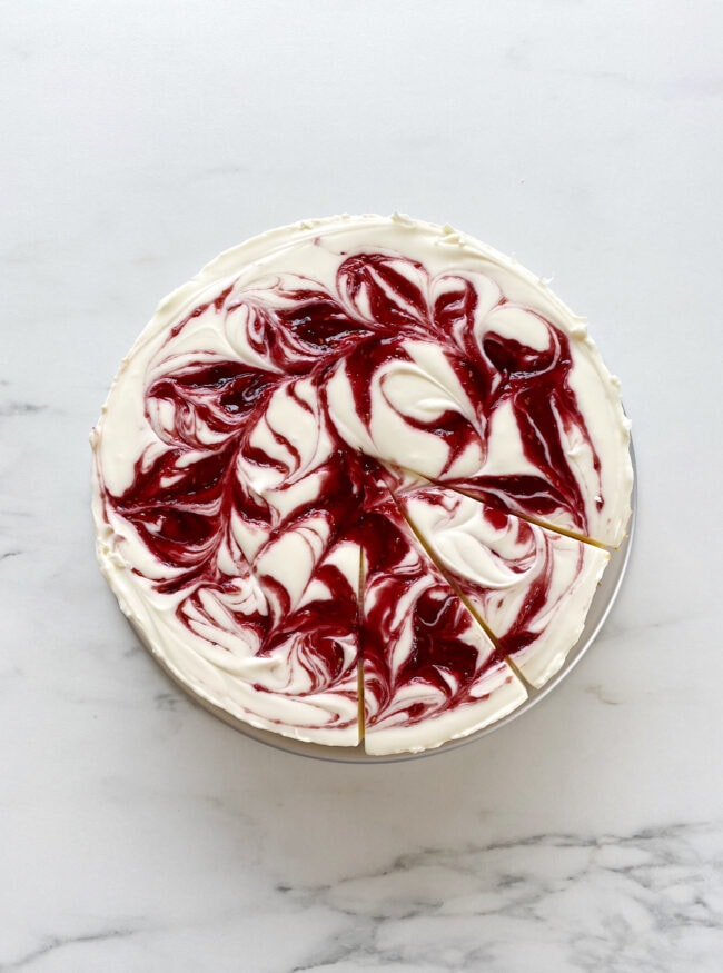 (Almost) No-Bake Cheesecake with Jam Swirl
